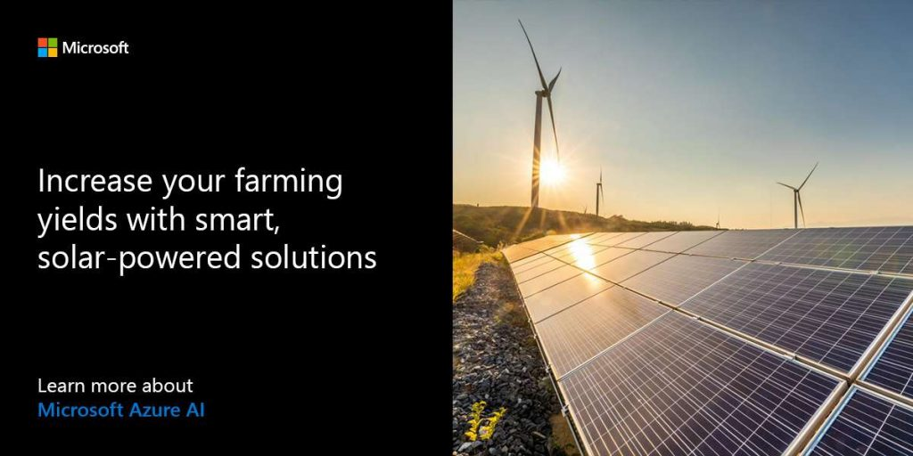 Increase yields with smart, solar-powered farming solutions. Learn more about Microsoft Azure AI.