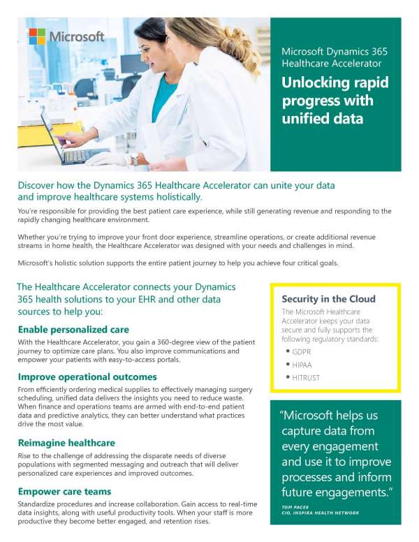 Microsoft Dynamics 365 Healthcare Accelerator: Unlocking rapid progress with unified data