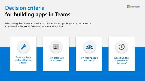Decision criteria for building apps in Teams